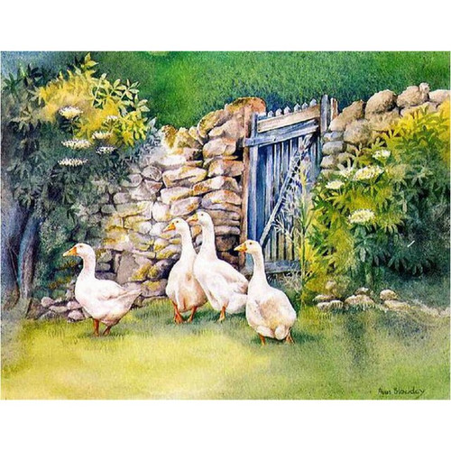 5D Diamond Painting Geese by the Gate Kit