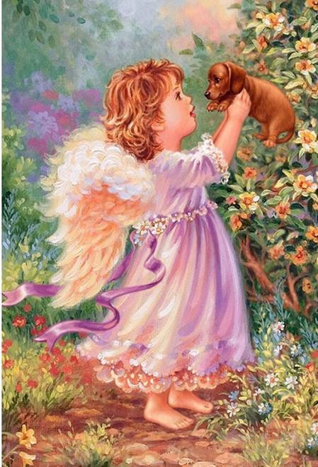 5D Diamond Painting Little Angel & Puppy Kit