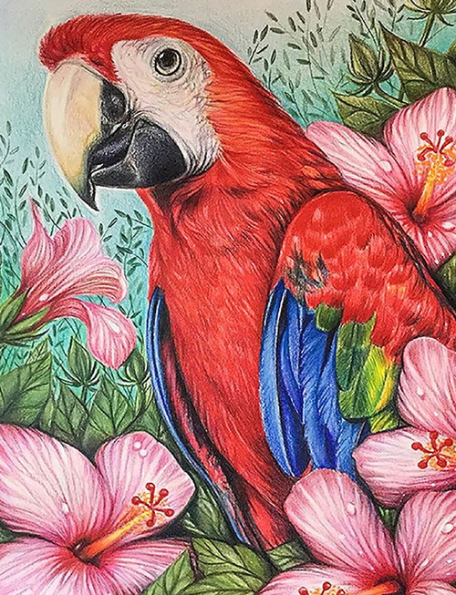 5D Diamond Painting Parrot in the Pink Flowers Kit