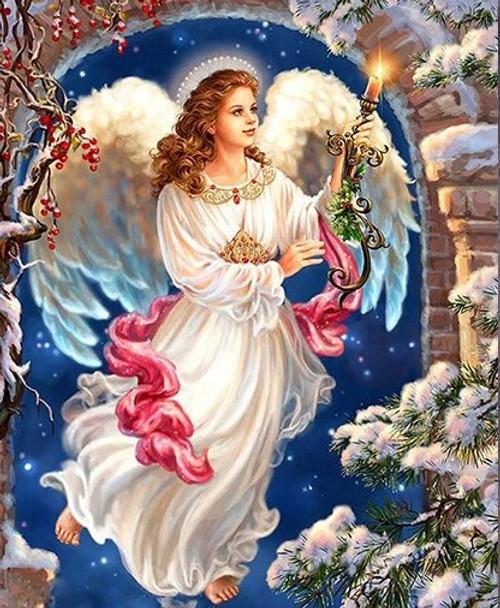 5D Diamond Painting Angel Christmas Candle Kit