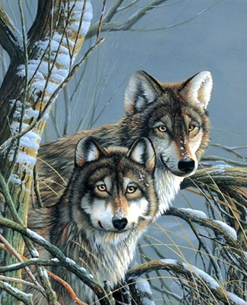 5D Diamond Painting Wolves by a Tree Kit