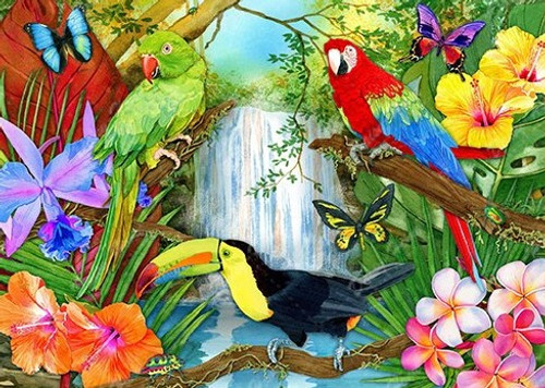 5D Diamond Painting Parrot and Toucan Waterfalls Kit