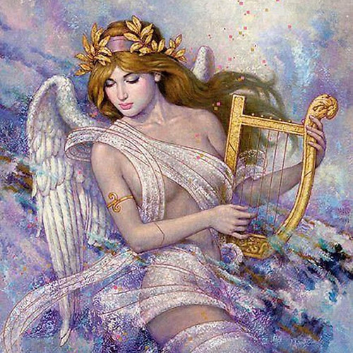 5D Diamond Painting Angel with a Golden Harp Kit