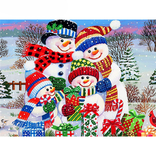 5D Diamond Painting Christmas Snowman Family Kit