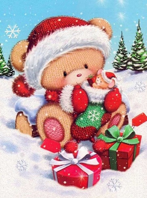 5D Diamond Painting Knit Bear with Presents Kit