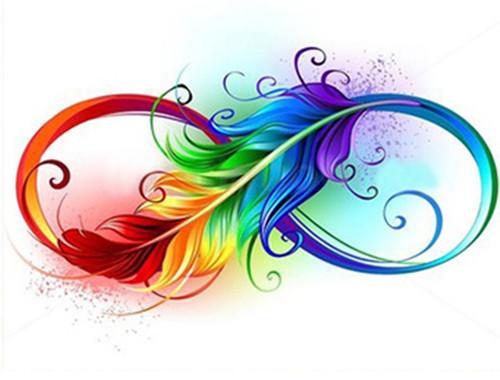 5D Diamond Painting Rainbow Feather Infinity Kit