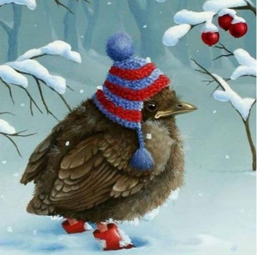 5D Diamond Painting Winter Hat Bird Kit