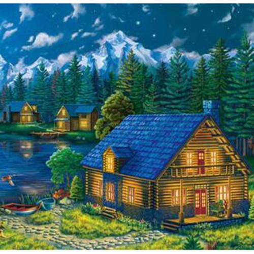 5D Diamond Painting Glowing Window Mountain Cabins Kit