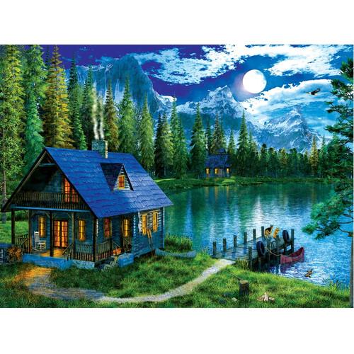 5D Diamond Painting Moonlight Mountain Cabin Kit