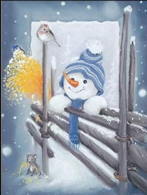 5D Diamond Painting Blue Hat Snowman Kit