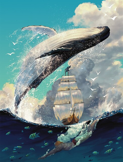 5D Diamond Painting Whale Jumping Ship Kit