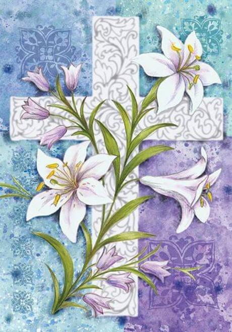 5D Diamond Painting Cross and Lilies Kit