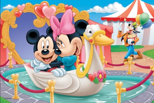 5D Diamond Painting Mickey and Minnie Swan Boat Ride Kit