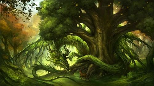 5D Diamond Painting Green Tree Dragon Kit