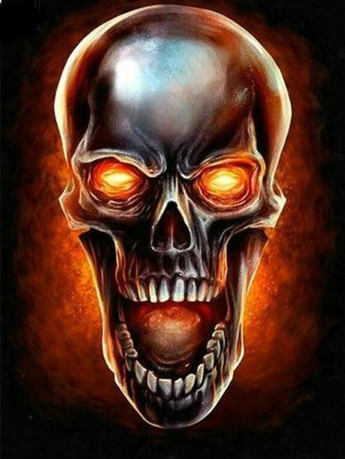 5D Diamond Painting Glowing Eye Skull Kit