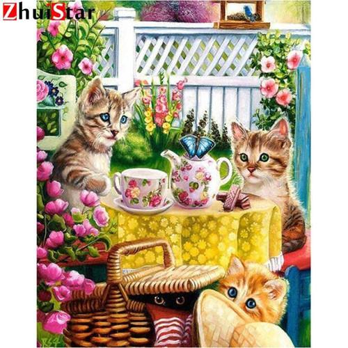 5D Diamond Painting Kitten Tea Party Kit