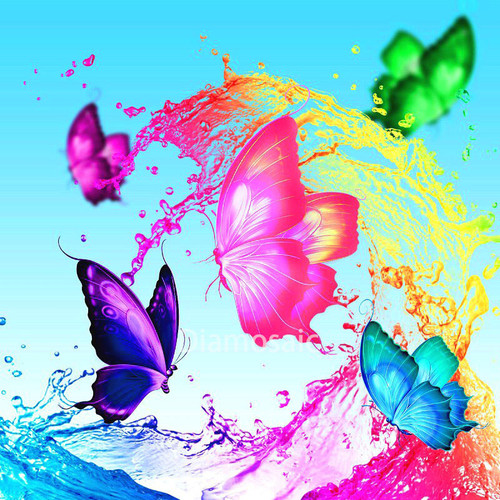 5D Diamond Painting Colorful Splash Butterflies Kit