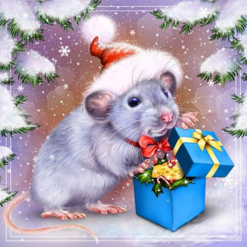 5D Diamond Painting Christmas Mouse Kit