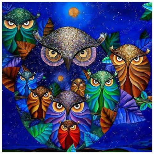 5D Diamond Painting Blue Sky Owls Kit