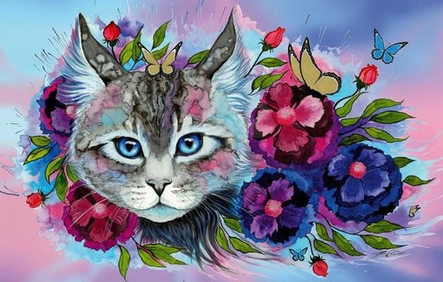 5D Diamond Painting Blue Eyed Cat and Flowers Kit