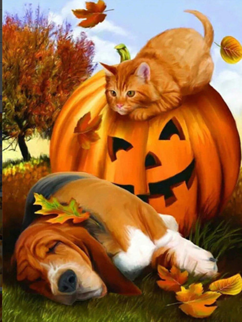 5D Diamond Painting Fall Leaf Cat and Dog Kit