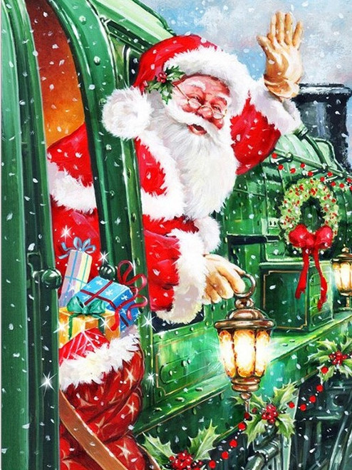 5D Diamond Painting Santa's Green Train Kit