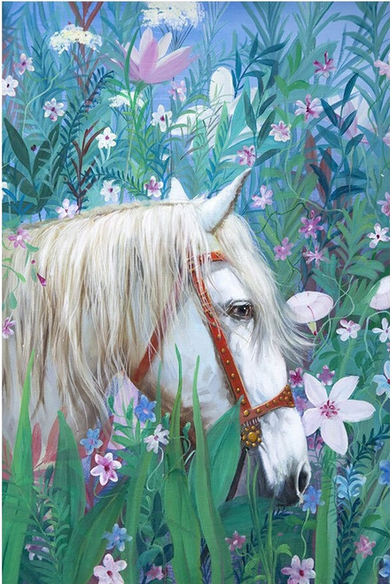 5D Diamond Painting White Horse in the Flowers Kit