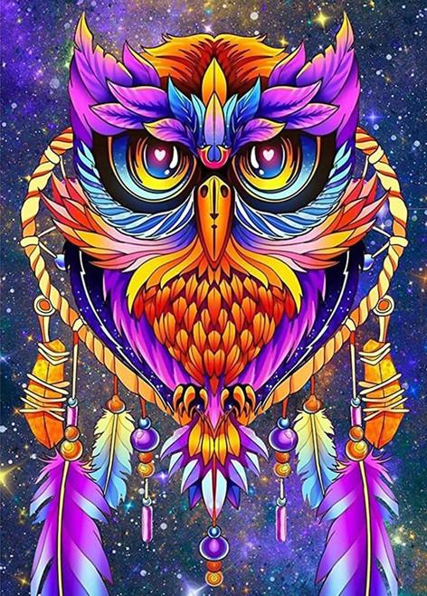5D Diamond Painting Purple Colorful Owl Kit