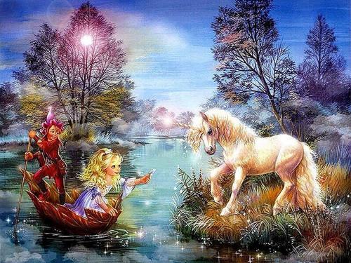 5D Diamond Painting Little Girl and Unicorn Kit