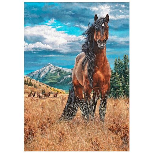 5D Diamond Painting Brown Horse in the Tall Grass Kit