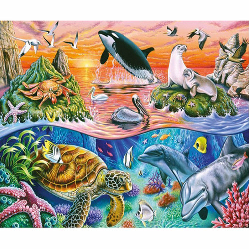 5D Diamond Painting Animals In and Above the Sea Kit