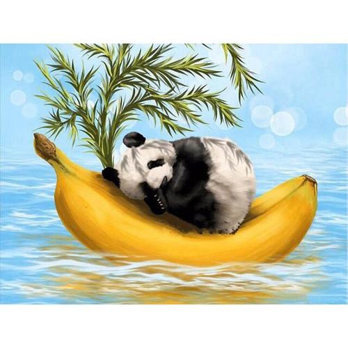 5D Diamond Painting Panda Banana Boat Kit