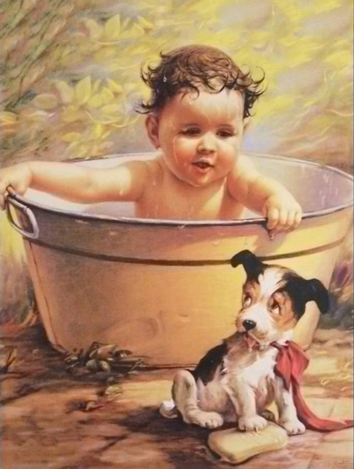 5D Diamond Painting Baby Bath and Puppy Kit