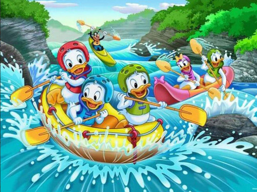 5D Diamond Painting Donald Duck and Nephews White Water Rafting Kit