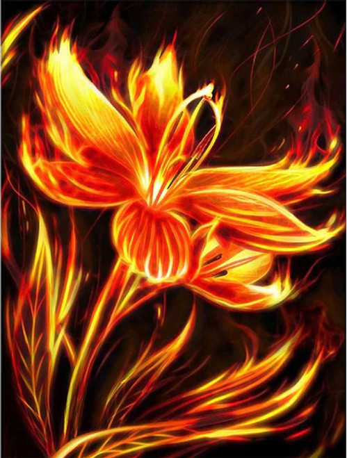 5D Diamond Painting Fire Flower Kit