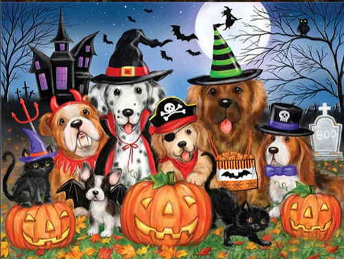 5D Diamond Painting Haunted House Pets in Costume Kit