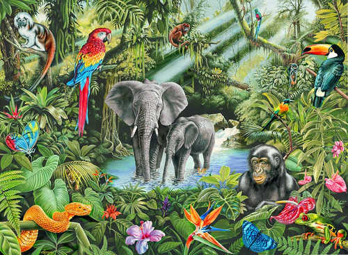 5D Diamond Painting Two Elephants in the Jungle Kit