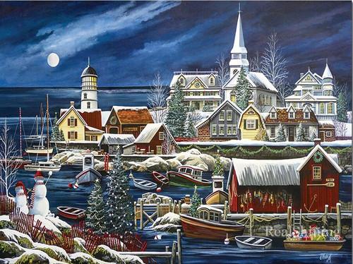 5D Diamond Painting Sea Side Town In Winter Kit
