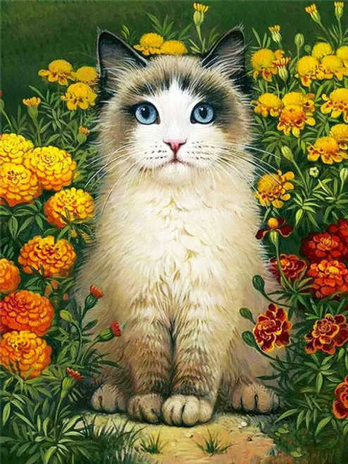 5D Diamond Painting Cat in the Marigolds Kit
