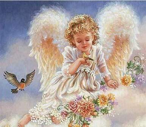 5D Diamond Painting Angel with Two Birds Kit