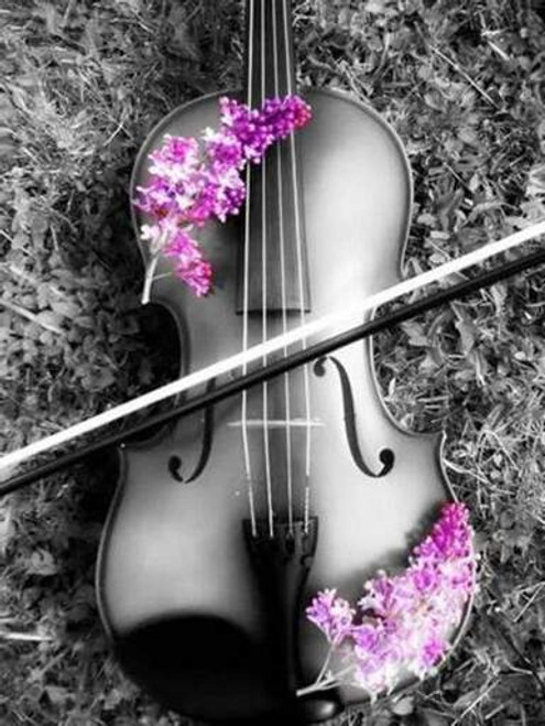 5D Diamond Painting Purple Flowers on the Violin Kit
