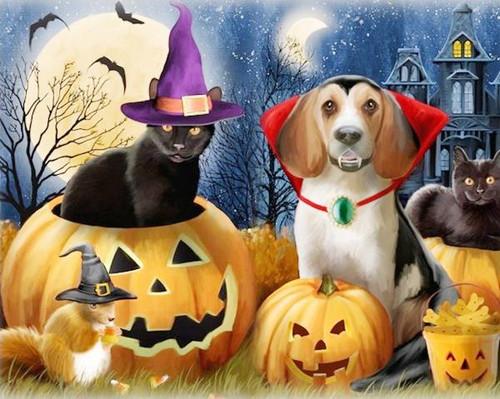 5D Diamonds Painting Halloween Pets Kit
