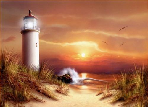 5D Diamond Painting Golden Sunset Lighthouse Kit