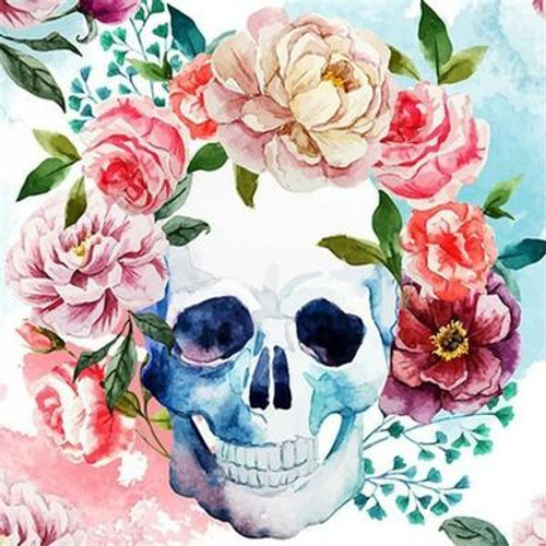 5D Diamond Painting Skull with Flowers Kit