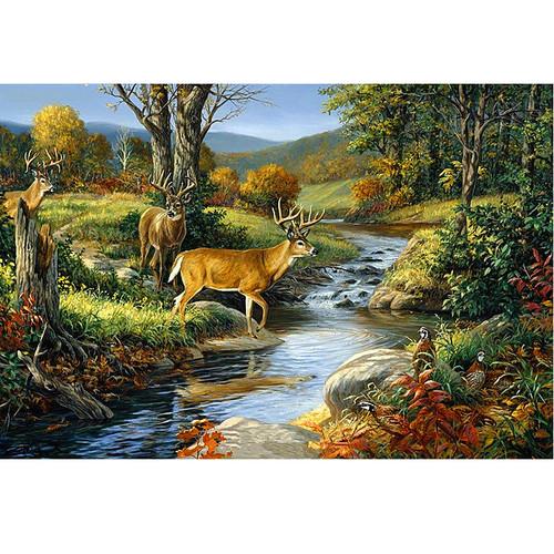 5D Diamond Painting Three Bucks Crossing the River Kit