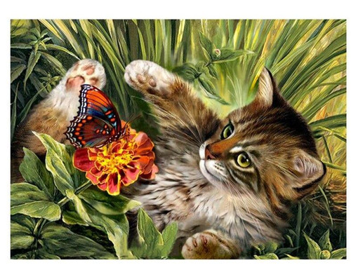 5D Diamond Painting Cat Playing with a Butterfly Kit
