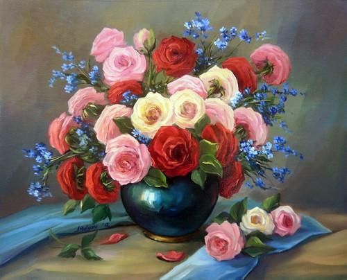 5D Diamond Painting Colorful Rose Center Piece Kit