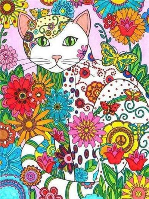 5D Diamond Painting Abstract Flower Cat Kit