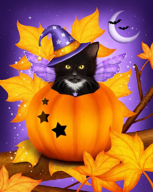 5D Diamond Painting Fall Leaf Witch Cat Kit