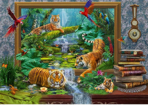 5D Diamond Painting Tigers in the Jungle Frame Escape Kit